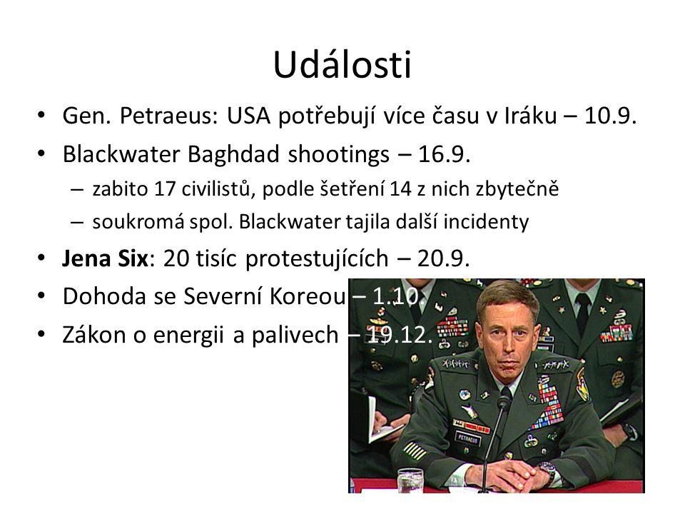 Události Gen. Petraeus: USA potřebují více času v Iráku – 10.9.
