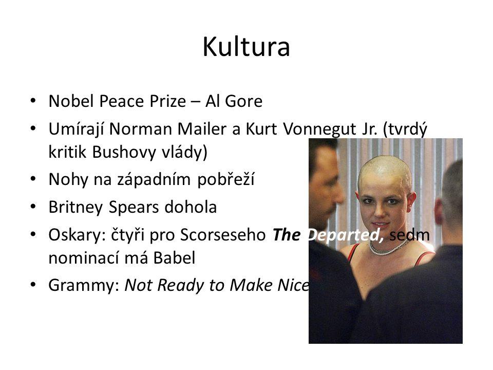 Kultura Nobel Peace Prize – Al Gore Umírají Norman Mailer a Kurt Vonnegut Jr. (tvrdý kritik Bushovy vlády) Nohy na západním pobřeží Britney Spears doh