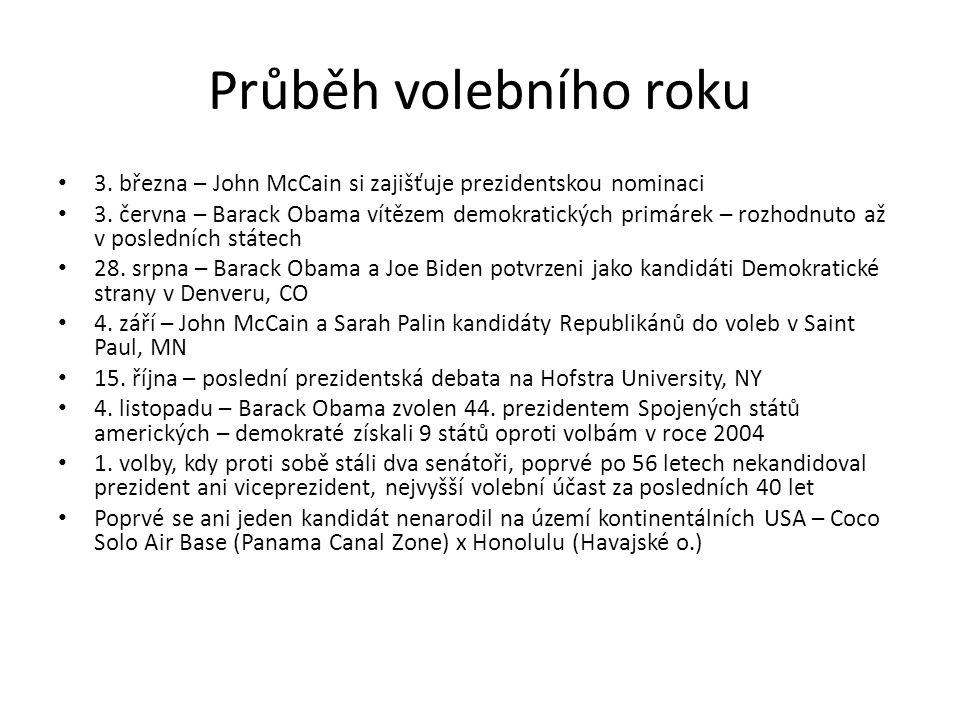 Průběh volebního roku 3. března – John McCain si zajišťuje prezidentskou nominaci 3. června – Barack Obama vítězem demokratických primárek – rozhodnut