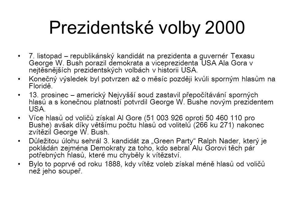 Prezidentské volby 2000 7. listopad – republikánský kandidát na prezidenta a guvernér Texasu George W. Bush porazil demokrata a viceprezidenta USA Ala