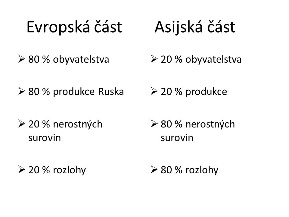 Evropská část Asijská část  80 % obyvatelstva  80 % produkce Ruska  20 % nerostných surovin  20 % rozlohy  20 % obyvatelstva  20 % produkce  80
