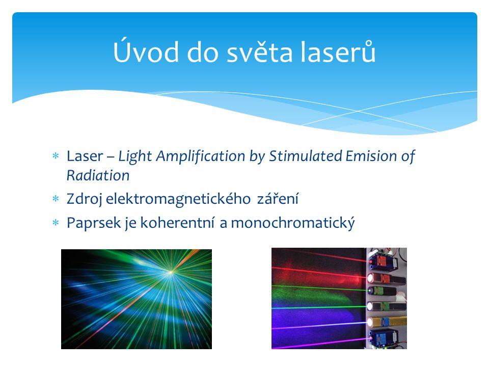 Laser – Light Amplification by Stimulated Emision of Radiation  Zdroj elektromagnetického záření  Paprsek je koherentní a monochromatický Úvod do