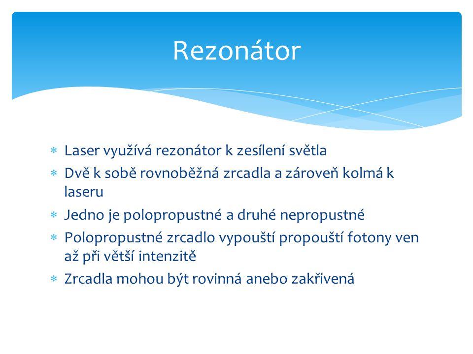  Laser využívá rezonátor k zesílení světla  Dvě k sobě rovnoběžná zrcadla a zároveň kolmá k laseru  Jedno je polopropustné a druhé nepropustné  Polopropustné zrcadlo vypouští propouští fotony ven až při větší intenzitě  Zrcadla mohou být rovinná anebo zakřivená Rezonátor