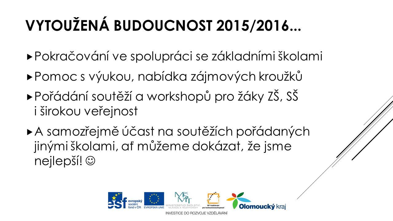 VYTOUŽENÁ BUDOUCNOST 2015/2016...  Pokračování ve spolupráci se základními školami  Pomoc s výukou, nabídka zájmových kroužků  Pořádání soutěží a w