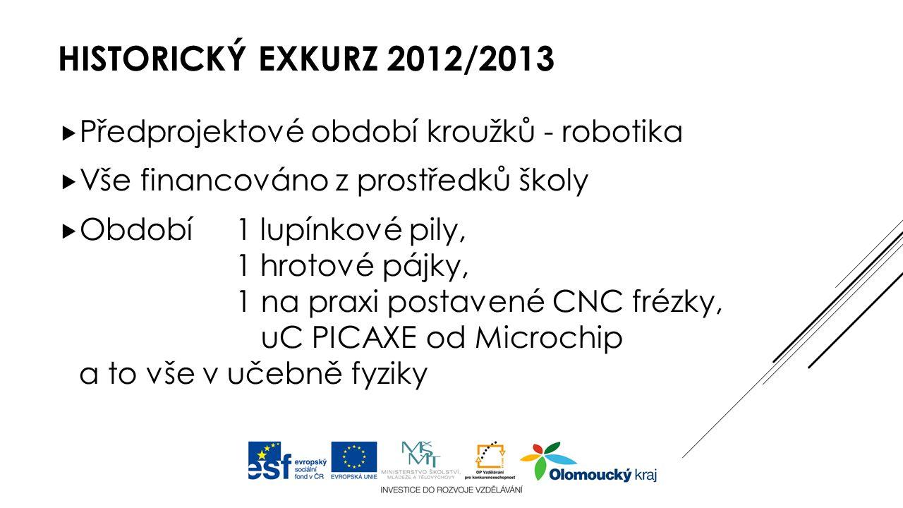 HISTORICKÝ EXKURZ 2012/2013  Předprojektové období kroužků - robotika  Vše financováno z prostředků školy  Období 1 lupínkové pily, 1 hrotové pájky