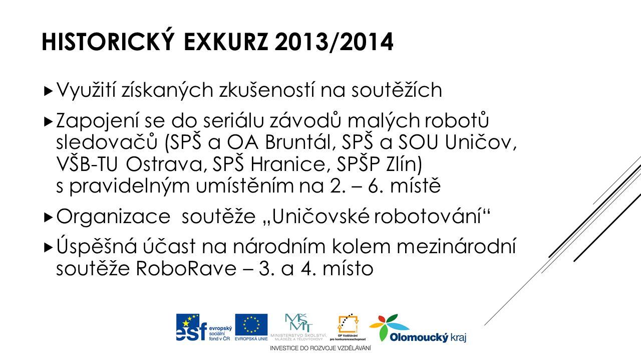 HISTORICKÝ EXKURZ 2013/2014  Využití získaných zkušeností na soutěžích  Zapojení se do seriálu závodů malých robotů sledovačů (SPŠ a OA Bruntál, SPŠ