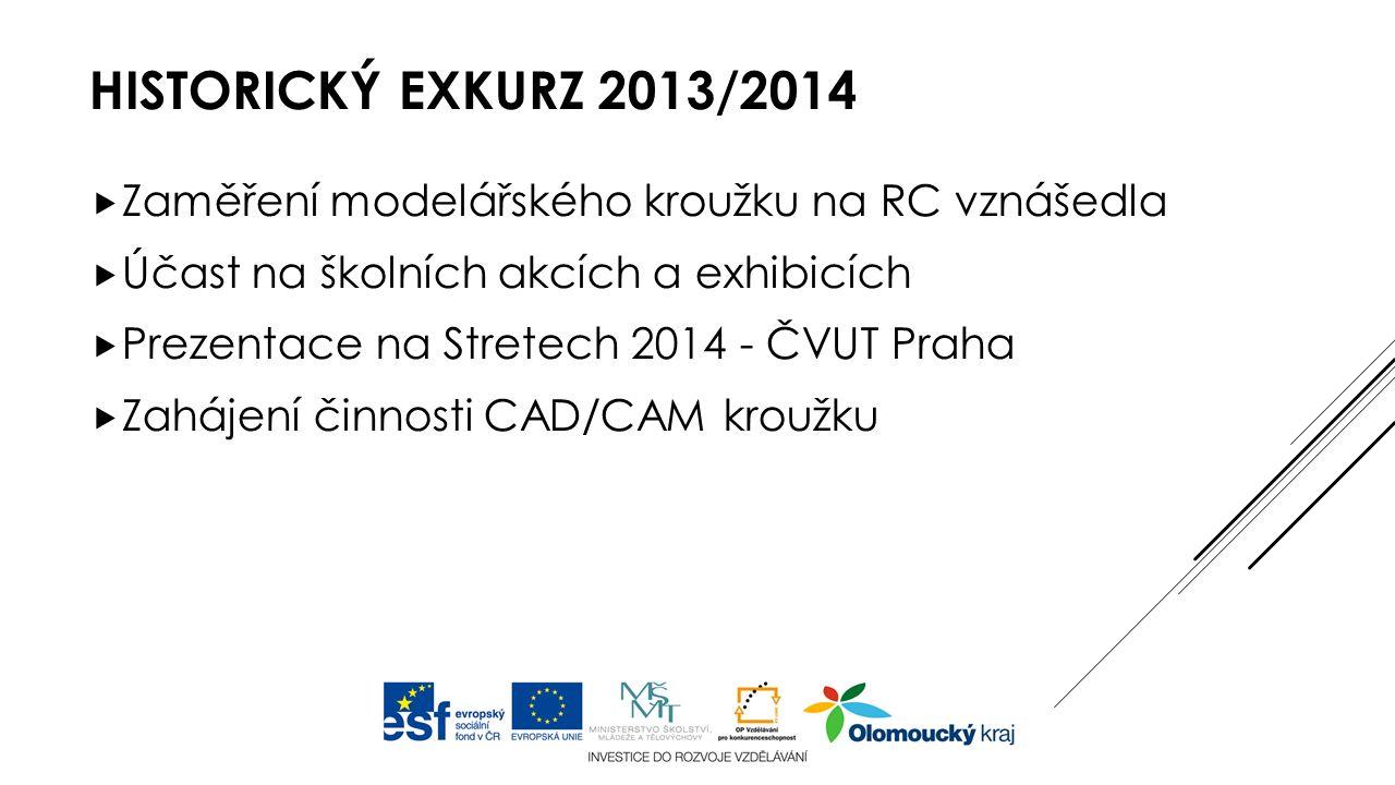 HISTORICKÝ EXKURZ 2013/2014  Zaměření modelářského kroužku na RC vznášedla  Účast na školních akcích a exhibicích  Prezentace na Stretech 2014 - ČVUT Praha  Zahájení činnosti CAD/CAM kroužku