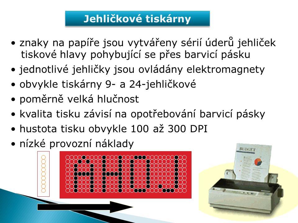 V klidu V provozu elektromagnet papír tiskový válec jehlička pružina barvicí páska vodicí otvory Jehličkové tiskárny