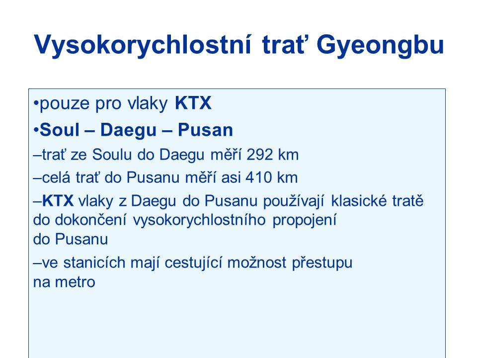 Vysokorychlostní trať Gyeongbu pouze pro vlaky KTX Soul – Daegu – Pusan –trať ze Soulu do Daegu měří 292 km –celá trať do Pusanu měří asi 410 km –KTX