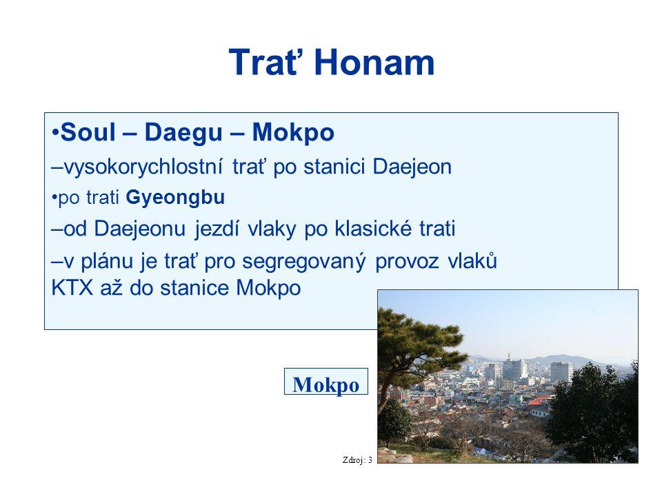 Trať Honam Soul – Daegu – Mokpo –vysokorychlostní trať po stanici Daejeon po trati Gyeongbu –od Daejeonu jezdí vlaky po klasické trati –v plánu je tra