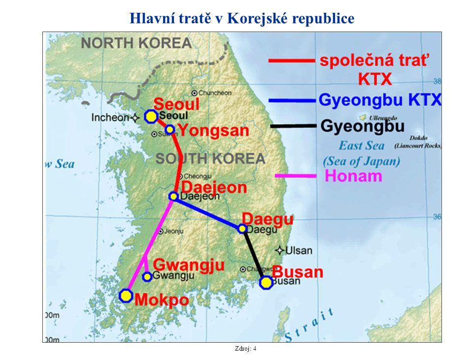 Hlavní tratě v Korejské republice Zdroj: 4