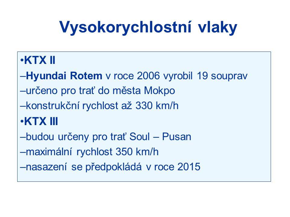 KTX II –Hyundai Rotem v roce 2006 vyrobil 19 souprav –určeno pro trať do města Mokpo –konstrukční rychlost až 330 km/h KTX III –budou určeny pro trať