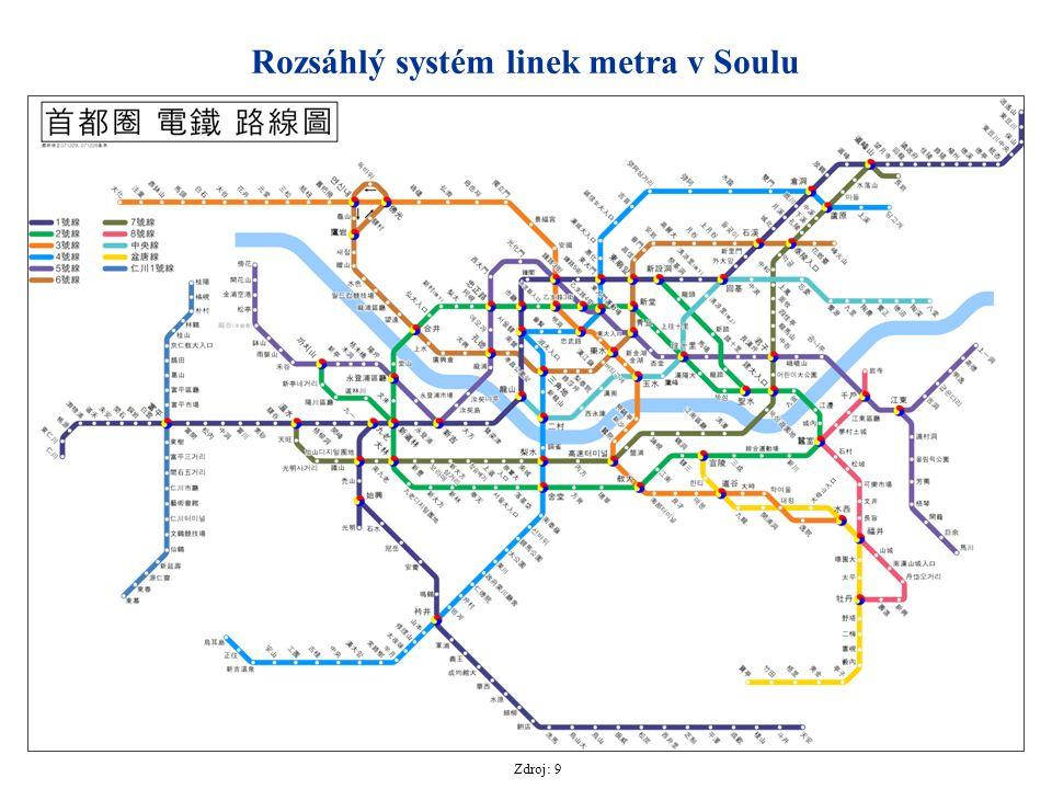 Rozsáhlý systém linek metra v Soulu Zdroj: 9