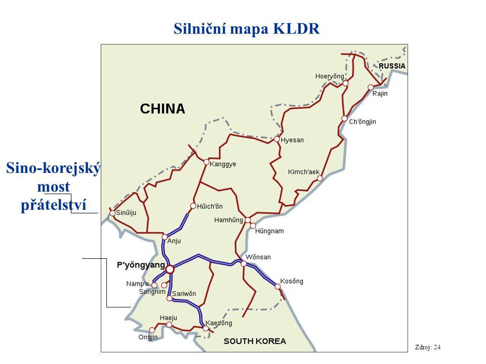 Silniční mapa KLDR Zdroj: 24 Sino-korejský most přátelství