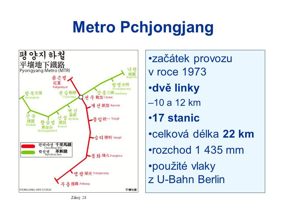 Metro Pchjongjang začátek provozu v roce 1973 dvě linky –10 a 12 km 17 stanic celková délka 22 km rozchod 1 435 mm použité vlaky z U-Bahn Berlin Zdroj