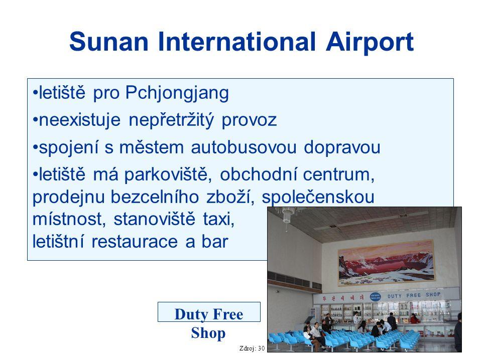 Sunan International Airport letiště pro Pchjongjang neexistuje nepřetržitý provoz spojení s městem autobusovou dopravou letiště má parkoviště, obchodn