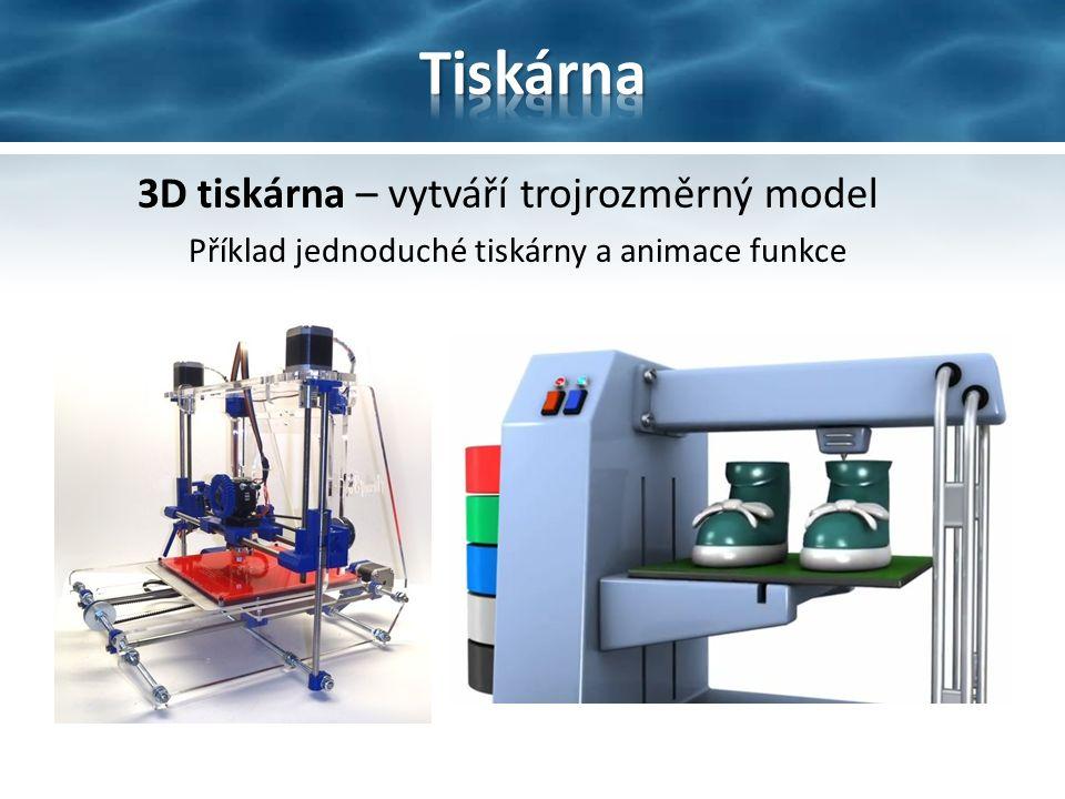 3D tiskárna – vytváří trojrozměrný model Příklad jednoduché tiskárny a animace funkce