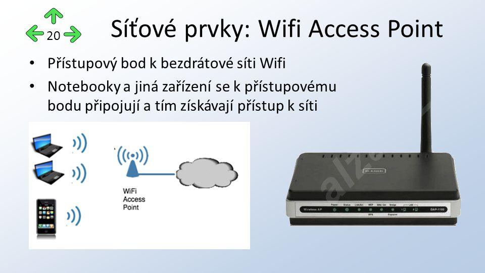 Přístupový bod k bezdrátové síti Wifi Notebooky a jiná zařízení se k přístupovému bodu připojují a tím získávají přístup k síti Síťové prvky: Wifi Access Point 20
