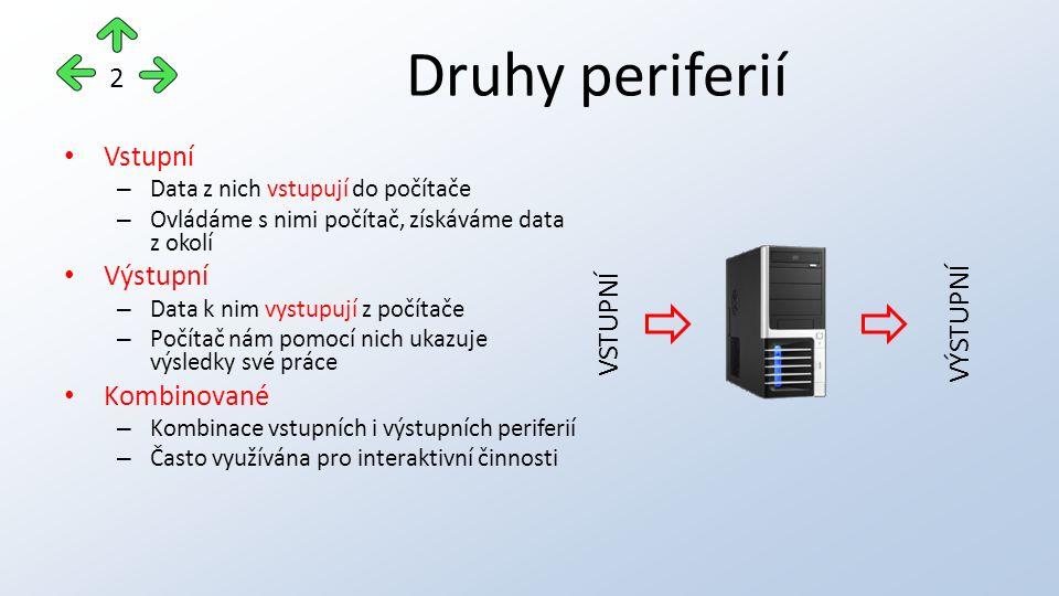 Druhy periferií Vstupní – Data z nich vstupují do počítače – Ovládáme s nimi počítač, získáváme data z okolí Výstupní – Data k nim vystupují z počítače – Počítač nám pomocí nich ukazuje výsledky své práce Kombinované – Kombinace vstupních i výstupních periferií – Často využívána pro interaktivní činnosti 2 VSTUPNÍ VÝSTUPNÍ
