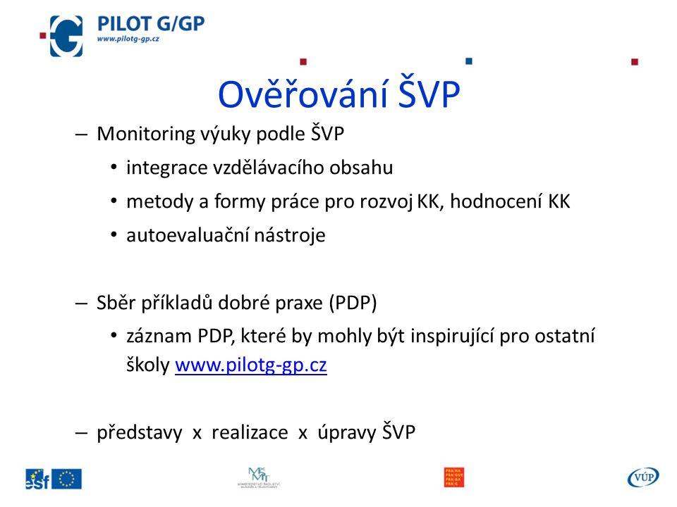 Ověřování ŠVP – Monitoring výuky podle ŠVP integrace vzdělávacího obsahu metody a formy práce pro rozvoj KK, hodnocení KK autoevaluační nástroje – Sběr příkladů dobré praxe (PDP) záznam PDP, které by mohly být inspirující pro ostatní školy www.pilotg-gp.czwww.pilotg-gp.cz – představy x realizace x úpravy ŠVP