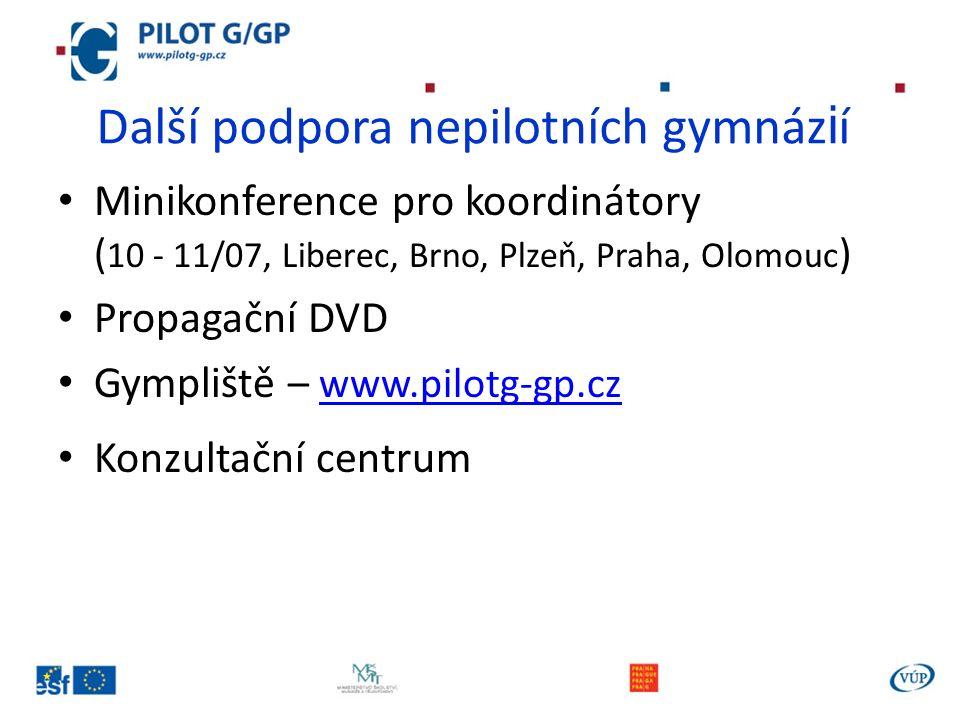 Další podpora nepilotních gymnáz i í Minikonference pro koordinátory ( 10 - 11/07, Liberec, Brno, Plzeň, Praha, Olomouc ) Propagační DVD Gympliště – w