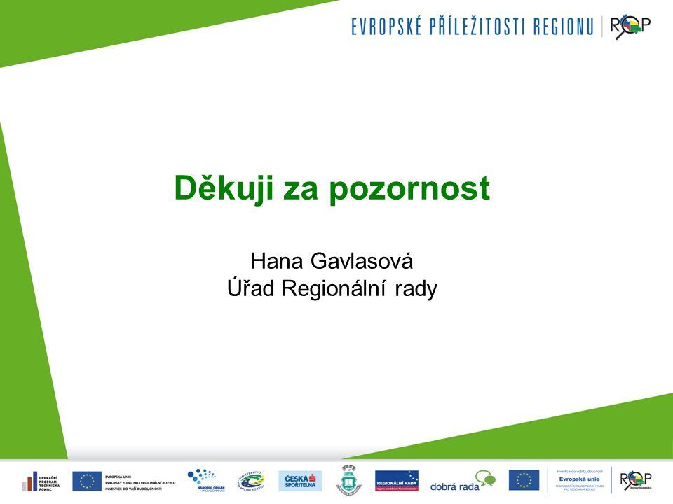 Děkuji za pozornost Hana Gavlasová Úřad Regionální rady