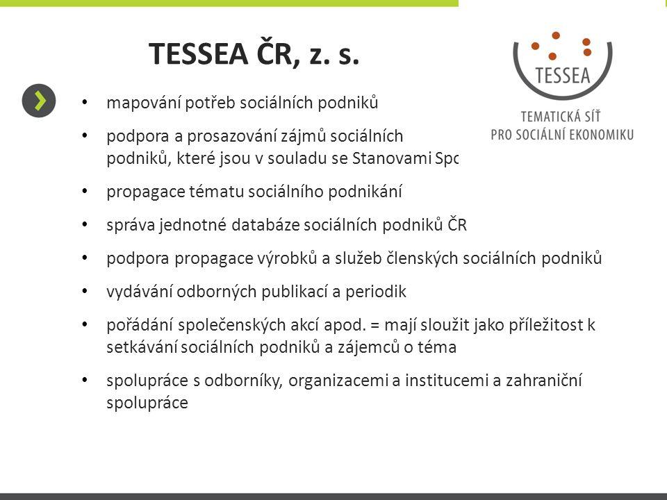 TESSEA ČR, z. s. mapování potřeb sociálních podniků podpora a prosazování zájmů sociálních podniků, které jsou v souladu se Stanovami Spolku propagace
