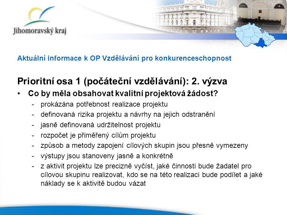 Aktuální informace k OP Vzdělávání pro konkurenceschopnost Prioritní osa 1 (počáteční vzdělávání): 2.