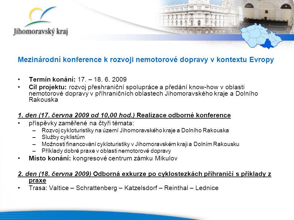 Mezinárodní konference k rozvoji nemotorové dopravy v kontextu Evropy Termín konání: 17.