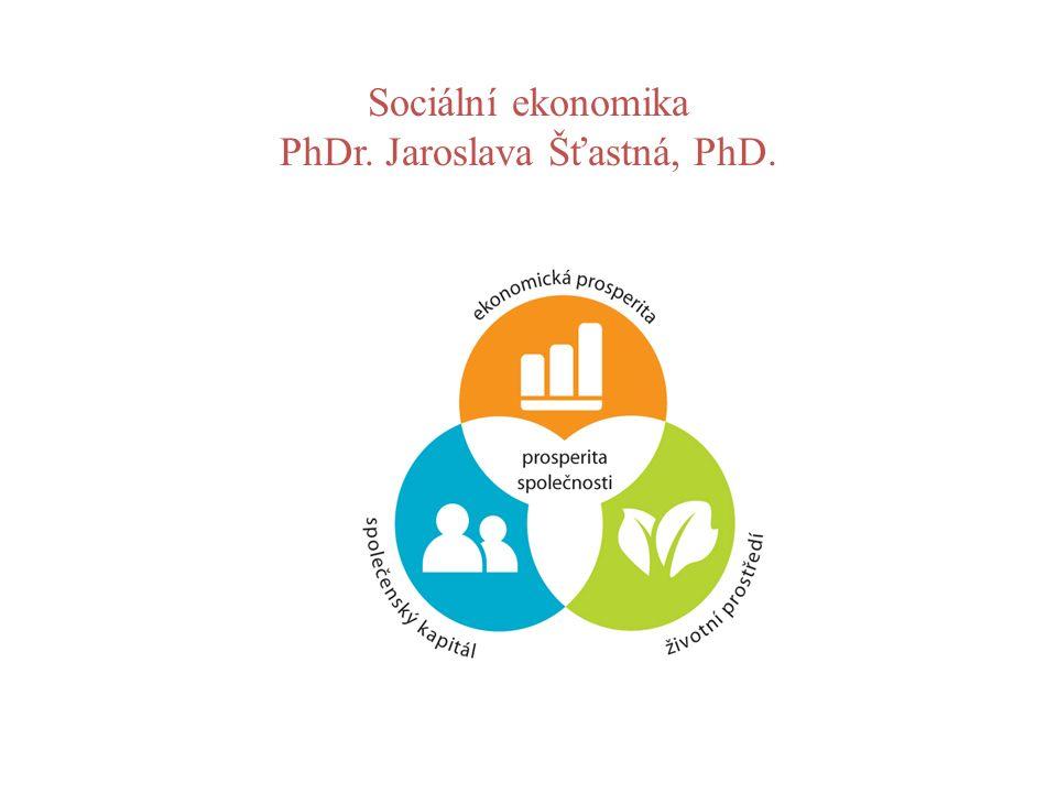 Sociální ekonomika PhDr. Jaroslava Šťastná, PhD.