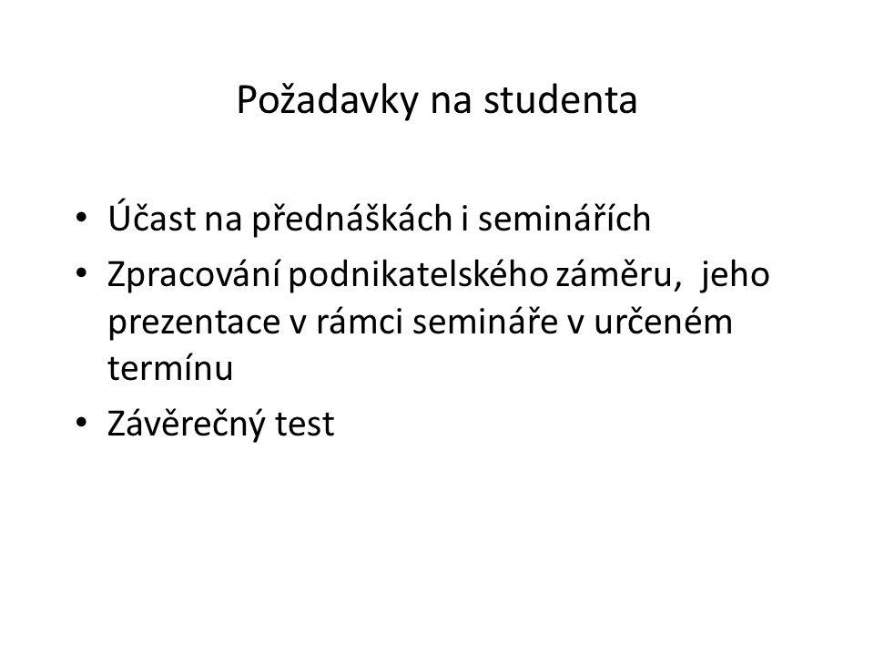 Požadavky na studenta Účast na přednáškách i seminářích Zpracování podnikatelského záměru, jeho prezentace v rámci semináře v určeném termínu Závěrečný test