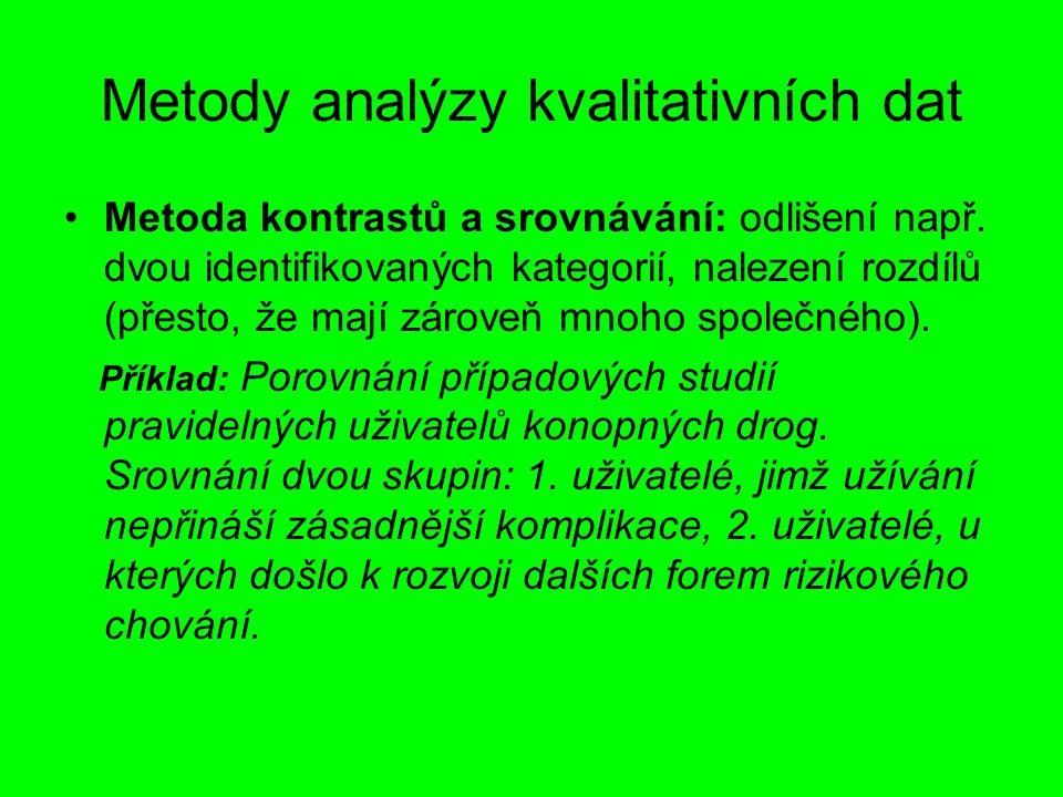 Metody analýzy kvalitativních dat Metoda kontrastů a srovnávání: odlišení např. dvou identifikovaných kategorií, nalezení rozdílů (přesto, že mají zár