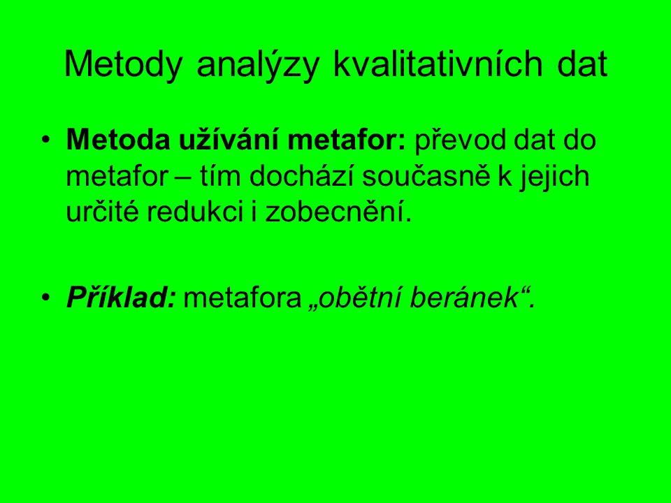 Metody analýzy kvalitativních dat Metoda užívání metafor: převod dat do metafor – tím dochází současně k jejich určité redukci i zobecnění. Příklad: m