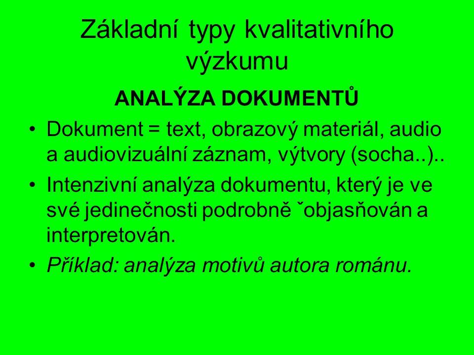 Základní typy kvalitativního výzkumu ANALÝZA DOKUMENTŮ Dokument = text, obrazový materiál, audio a audiovizuální záznam, výtvory (socha..).. Intenzivn