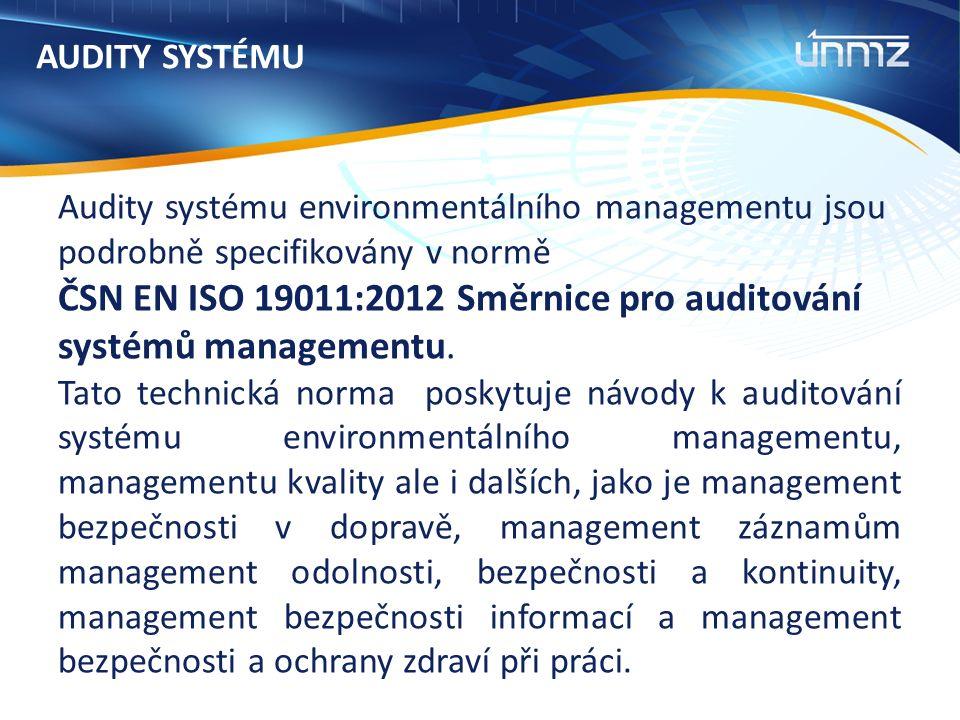 AUDITY SYSTÉMU Audity systému environmentálního managementu jsou podrobně specifikovány v normě ČSN EN ISO 19011:2012 Směrnice pro auditování systémů managementu.