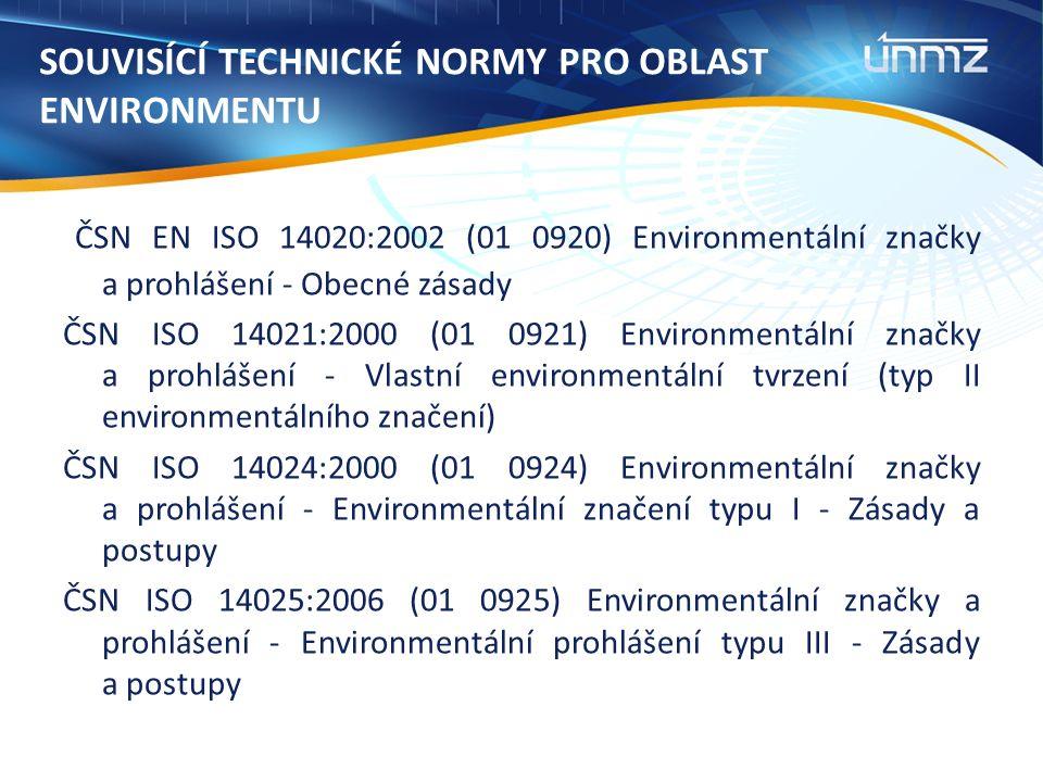 SOUVISÍCÍ TECHNICKÉ NORMY PRO OBLAST ENVIRONMENTU ČSN EN ISO 14020:2002 (01 0920) Environmentální značky a prohlášení - Obecné zásady ČSN ISO 14021:2000 (01 0921) Environmentální značky a prohlášení - Vlastní environmentální tvrzení (typ II environmentálního značení) ČSN ISO 14024:2000 (01 0924) Environmentální značky a prohlášení - Environmentální značení typu I - Zásady a postupy ČSN ISO 14025:2006 (01 0925) Environmentální značky a prohlášení - Environmentální prohlášení typu III - Zásady a postupy