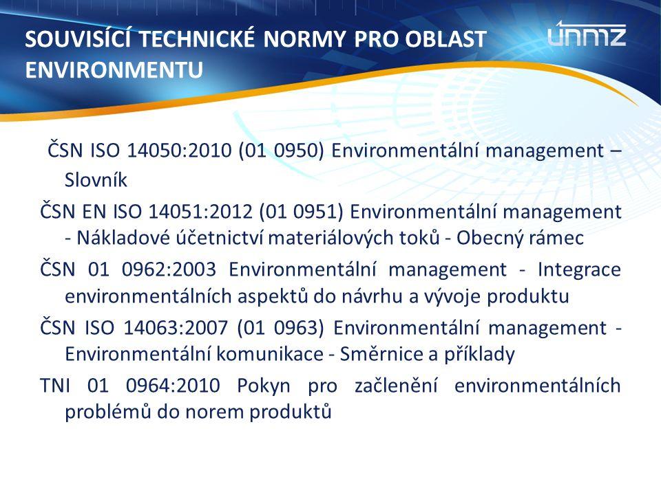 SOUVISÍCÍ TECHNICKÉ NORMY PRO OBLAST ENVIRONMENTU ČSN ISO 14050:2010 (01 0950) Environmentální management – Slovník ČSN EN ISO 14051:2012 (01 0951) Environmentální management - Nákladové účetnictví materiálových toků - Obecný rámec ČSN 01 0962:2003 Environmentální management - Integrace environmentálních aspektů do návrhu a vývoje produktu ČSN ISO 14063:2007 (01 0963) Environmentální management - Environmentální komunikace - Směrnice a příklady TNI 01 0964:2010 Pokyn pro začlenění environmentálních problémů do norem produktů