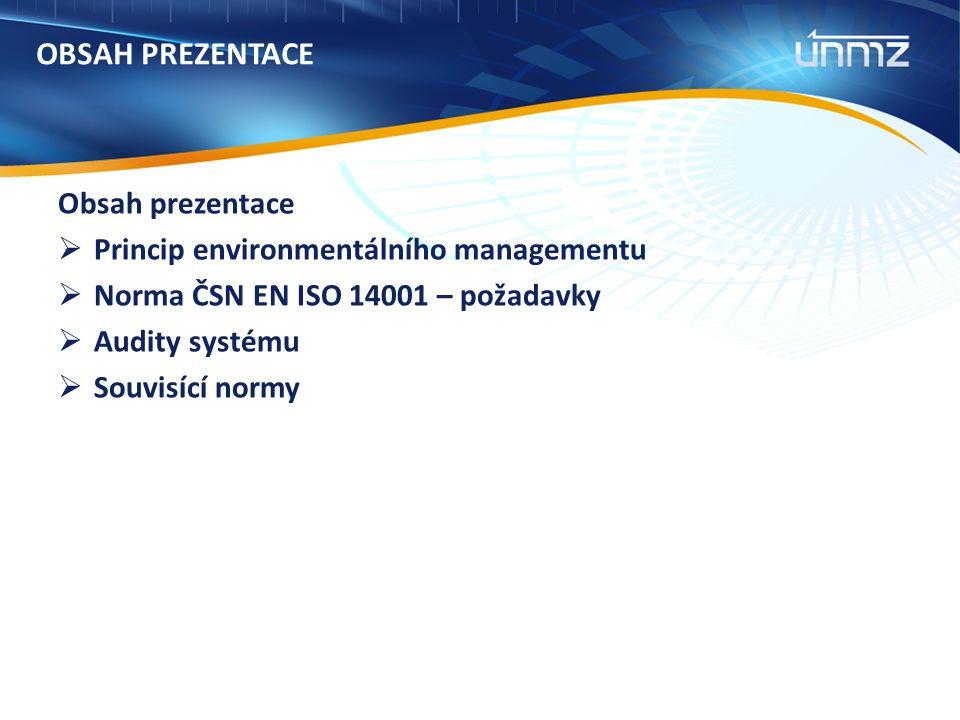 OBSAH PREZENTACE Obsah prezentace  Princip environmentálního managementu  Norma ČSN EN ISO 14001 – požadavky  Audity systému  Souvisící normy