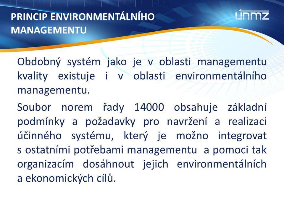 PRINCIP ENVIRONMENTÁLNÍHO MANAGEMENTU Obdobný systém jako je v oblasti managementu kvality existuje i v oblasti environmentálního managementu.