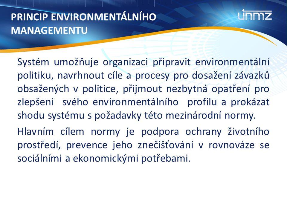 PRINCIP ENVIRONMENTÁLNÍHO MANAGEMENTU Systém umožňuje organizaci připravit environmentální politiku, navrhnout cíle a procesy pro dosažení závazků obsažených v politice, přijmout nezbytná opatření pro zlepšení svého environmentálního profilu a prokázat shodu systému s požadavky této mezinárodní normy.