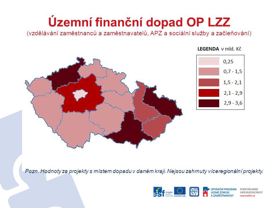 Územní finanční dopad OP LZZ (vzdělávání zaměstnanců a zaměstnavatelů, APZ a sociální služby a začleňování) Pozn. Hodnoty za projekty s místem dopadu