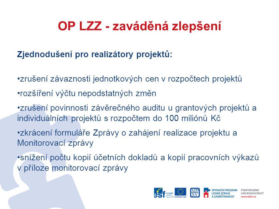 OP LZZ - zaváděná zlepšení Zjednodušení pro realizátory projektů: zrušení závaznosti jednotkových cen v rozpočtech projektů rozšíření výčtu nepodstatn