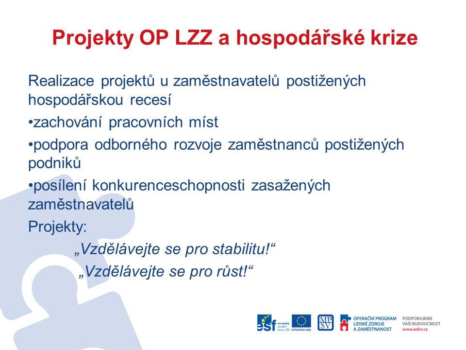 """Projekty OP LZZ a hospodářské krize Realizace projektů u zaměstnavatelů postižených hospodářskou recesí zachování pracovních míst podpora odborného rozvoje zaměstnanců postižených podniků posílení konkurenceschopnosti zasažených zaměstnavatelů Projekty: """"Vzdělávejte se pro stabilitu! """"Vzdělávejte se pro růst!"""
