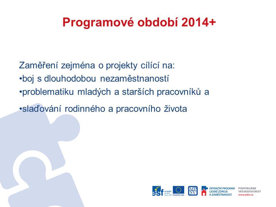 Programové období 2014+ Zaměření zejména o projekty cílící na: boj s dlouhodobou nezaměstnaností problematiku mladých a starších pracovníků a slaďování rodinného a pracovního života