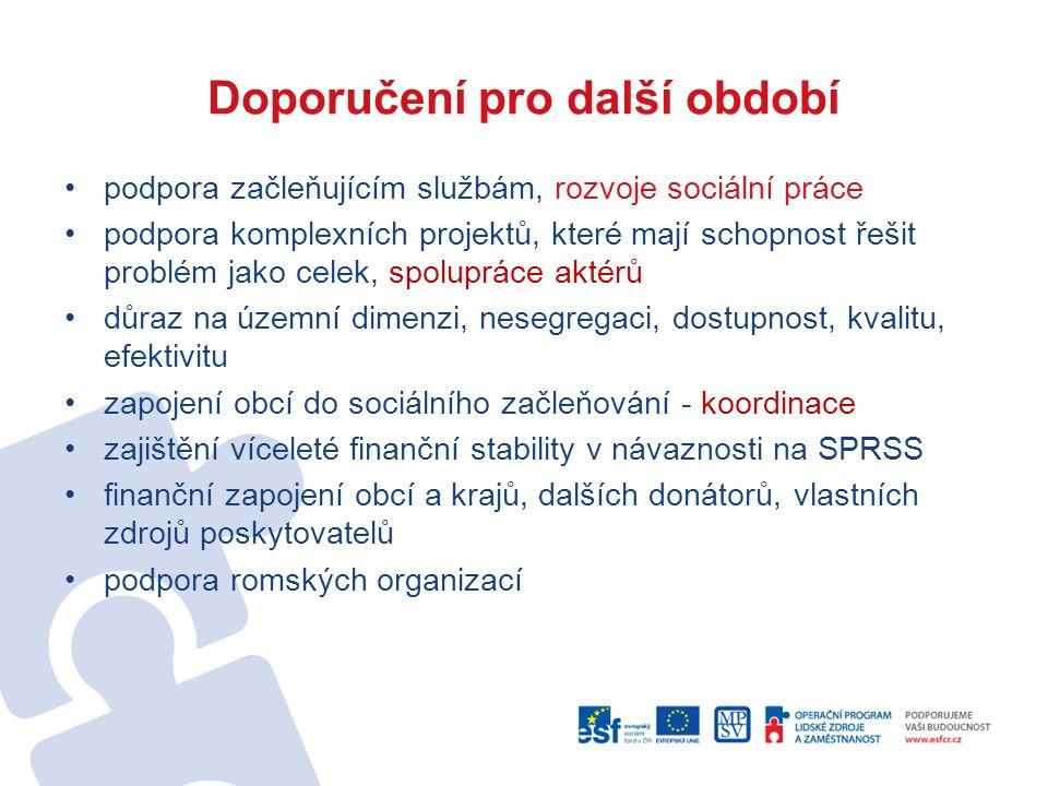 Doporučení pro další období podpora začleňujícím službám, rozvoje sociální práce podpora komplexních projektů, které mají schopnost řešit problém jako celek, spolupráce aktérů důraz na územní dimenzi, nesegregaci, dostupnost, kvalitu, efektivitu zapojení obcí do sociálního začleňování - koordinace zajištění víceleté finanční stability v návaznosti na SPRSS finanční zapojení obcí a krajů, dalších donátorů, vlastních zdrojů poskytovatelů podpora romských organizací