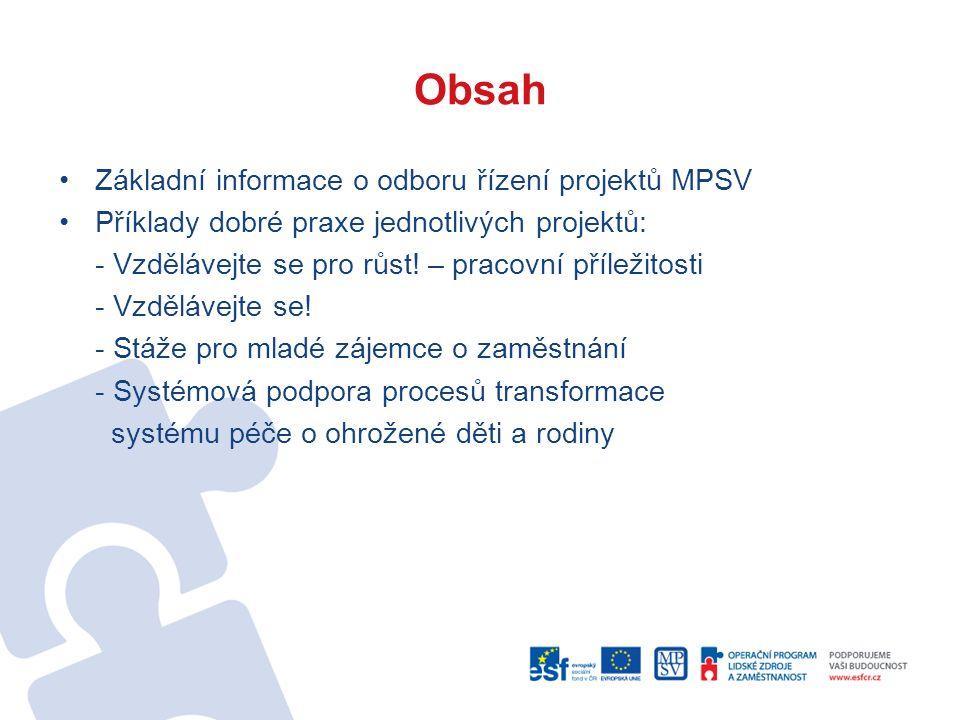 Obsah Základní informace o odboru řízení projektů MPSV Příklady dobré praxe jednotlivých projektů: - Vzdělávejte se pro růst! – pracovní příležitosti