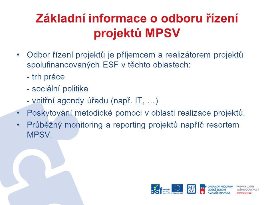 Základní informace o odboru řízení projektů MPSV Odbor řízení projektů je příjemcem a realizátorem projektů spolufinancovaných ESF v těchto oblastech: - trh práce - sociální politika - vnitřní agendy úřadu (např.