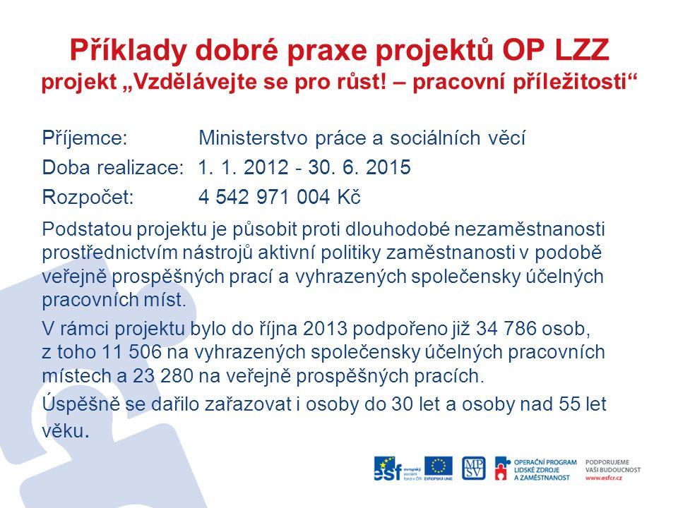 """Příklady dobré praxe projektů OP LZZ projekt """"Vzdělávejte se pro růst! – pracovní příležitosti"""" Příjemce: Ministerstvo práce a sociálních věcí Doba re"""