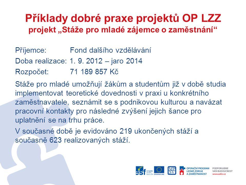 """Příklady dobré praxe projektů OP LZZ projekt """"Stáže pro mladé zájemce o zaměstnání"""" Příjemce: Fond dalšího vzdělávání Doba realizace: 1. 9. 2012 – jar"""