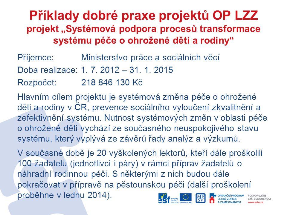 """Příklady dobré praxe projektů OP LZZ projekt """"Systémová podpora procesů transformace systému péče o ohrožené děti a rodiny Příjemce: Ministerstvo práce a sociálních věcí Doba realizace: 1."""